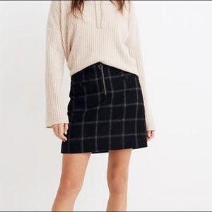 Madewell Plaid Wool Skirt with Zipper Detail